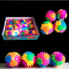 2017 New Rainbow Light Spiky LED Bounce Ball / Dog Cat Flashing Sensory Fun Toy Glow Party Birthday Gift 7.5cm Halloween(China)