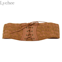 Lychee Women Slim Lace Corset Waistband Elastic Adjustable Corset Leather Lace up Elastic Belt