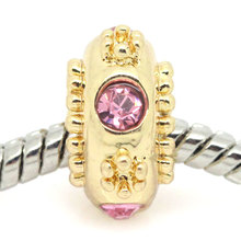 DoreenBeads European Charm Beads Round Gold color W/Pink Rhinestone Flower Carved 13x7mm Hole:approx 5.2mm,10PCs 2015 new