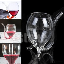New 300ml Wine Red  Glass Cup Mug With Built in Drinking Tube Straw