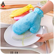 Waterproof Magic Gloves Scouring Pad Cleaning Wash Dishes Degreaser Tool Wood fiber Cleaner For Tableware Kitchen  Accessories