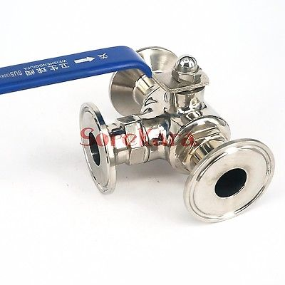 T-port  1-1/4 32mm 304 Stainless Steel Sanitary 3 Way Ball Valve Tri Clamp 50.5mm Ferrule O/D Type For Homebrew Diary Product<br>