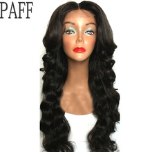 PAFF Silk top Lace Front Human Hair Wig Body Wave Peruvian Remy Hair Pre Plucked Wig Middle Part With Natural Hairline BabyHair(China)