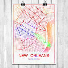 NEW ORLEANS USA USA Colorful World City Map Print Poster Abstract Coated Paper Bar Cafe Living Room Home Decoration Wall Sticker