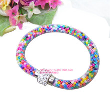 Hot sale Mesh Double Stardust Bracelets With Bohemia Beads  Filled Magnetic Clasp Charm Bracelets Bangles