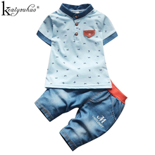 KEAIYOUHUO Boys Sport Suit Summer Boys Clothes Sets Short Sleeve Christmas Outfits Children Clothing 1 2 3 4 Years Kids Costume()