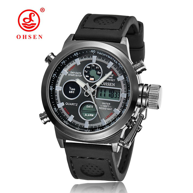 Brand OHSEN Men Watch Military Dual Time Zone Sport LED Sports watch Fashion Men Quartz Silicone Watch Relogio Masculino<br><br>Aliexpress