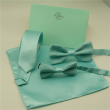 Fashion Bow ties For Men Children Solid Mint Green Bow ties Handkerchief Cravat Adjustable Blue Green Butterfly Pocket Square(China)