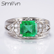 Simffvn Men Luxury 1CT Created Emerald Anniversary Wedding Ring 18K White Gold  Rings for Women Fine Jewelry