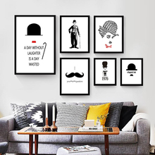 Chaplin Style Nordic Painting No Frame Black and White Decorative Wall Drawing Canvas Art Mural Poster for Living Room Ornaments