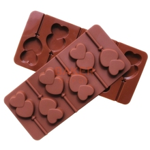 Silicone mold 6 lattices double of love lollipops DIY chocolate mold comes with a plastic rod CDSM-069(China)