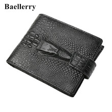 2016 New Genuine Leather Alligator men's wallet high-quality vintage cow brand top purse zipper coin purse