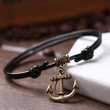 100pcs/lot Bronze Anchor Pendent Hang On The Adjustable Black Wax Cord 18-30cm Anklet For Woman And Man Vintage