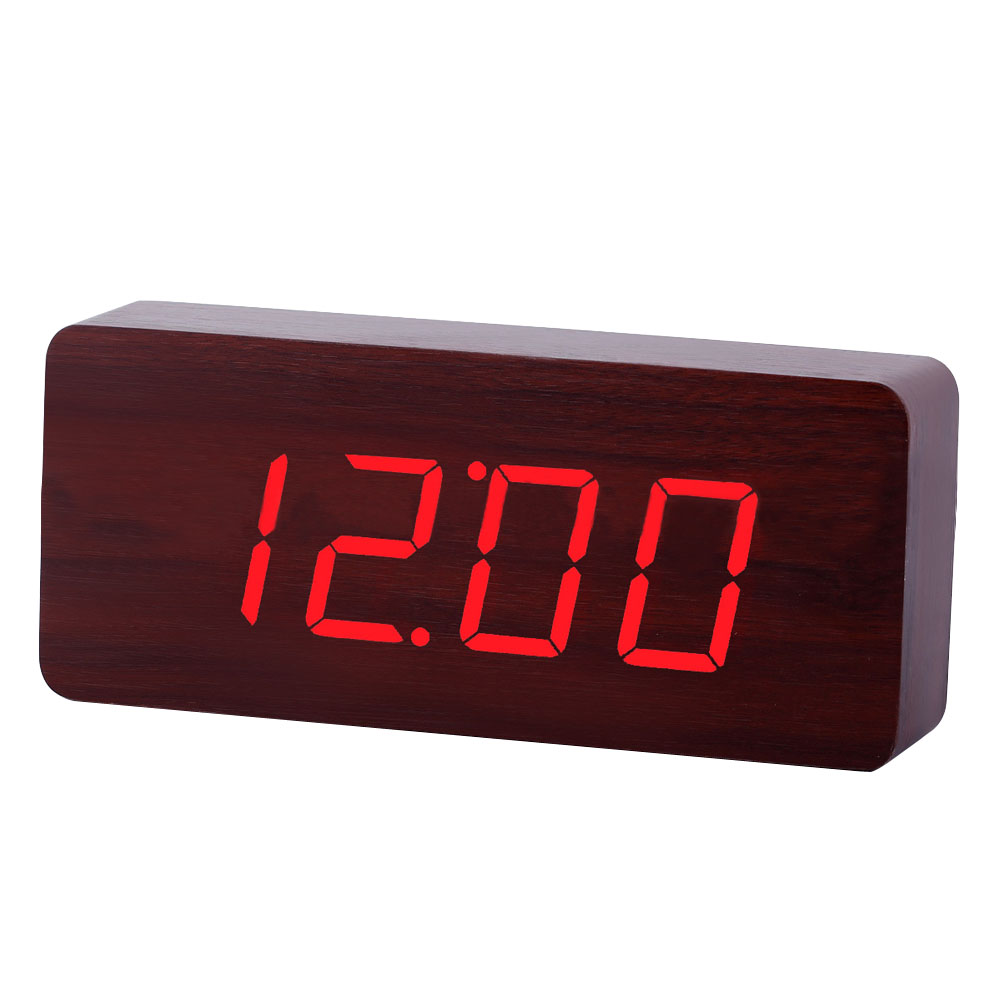 New Design Wood Rectangle LED Alarm Digital White Desk Clock Wooden Thermometer USB/AA Thermometer Date Display Vioce Touch(China (Mainland))