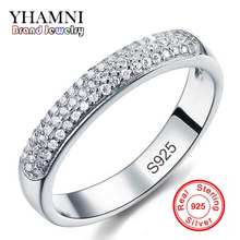 Fine Jewelry Round Solid Silver Rings for Women Girl Luxury Row Drilling Pure Silver Party Rings Wedding Jewelry Best Gift R037