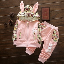 Cute Baby Girl Clothes Sets For Children High Qulity 2017 Autumn Long Sleeve Print Toddler Girls Baby Suit for Kid 1 2 3 4 Years(China)