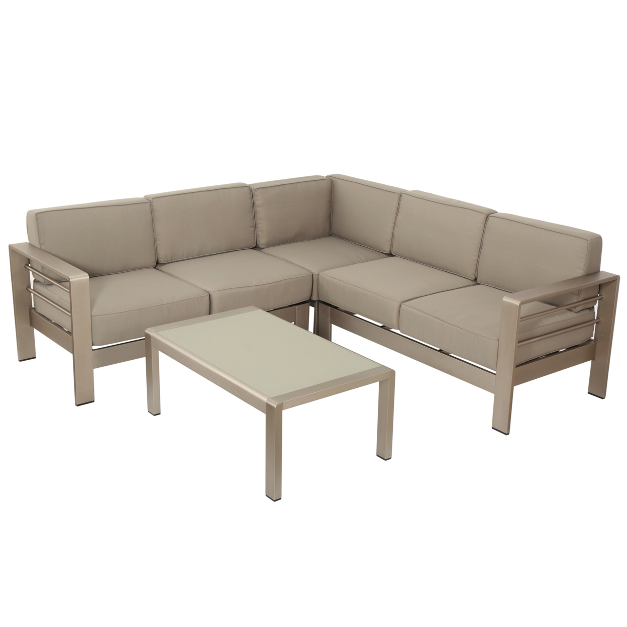 Safira Khaki Fabric Indoor 4 Piece Sectional Sofa Set