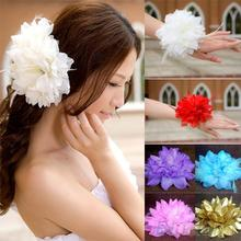 New Bridal Wedding Party Flower Fascinator Elastic Pin Hair Wrist Corsage Brooch Headband Women 22H3(China)