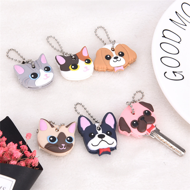 1Pcs Silicone Key Ring Cap Head Cover Keychain Case Shell Cat Hamster Pug Dog Animals Shape Lovely Jewelry Gift