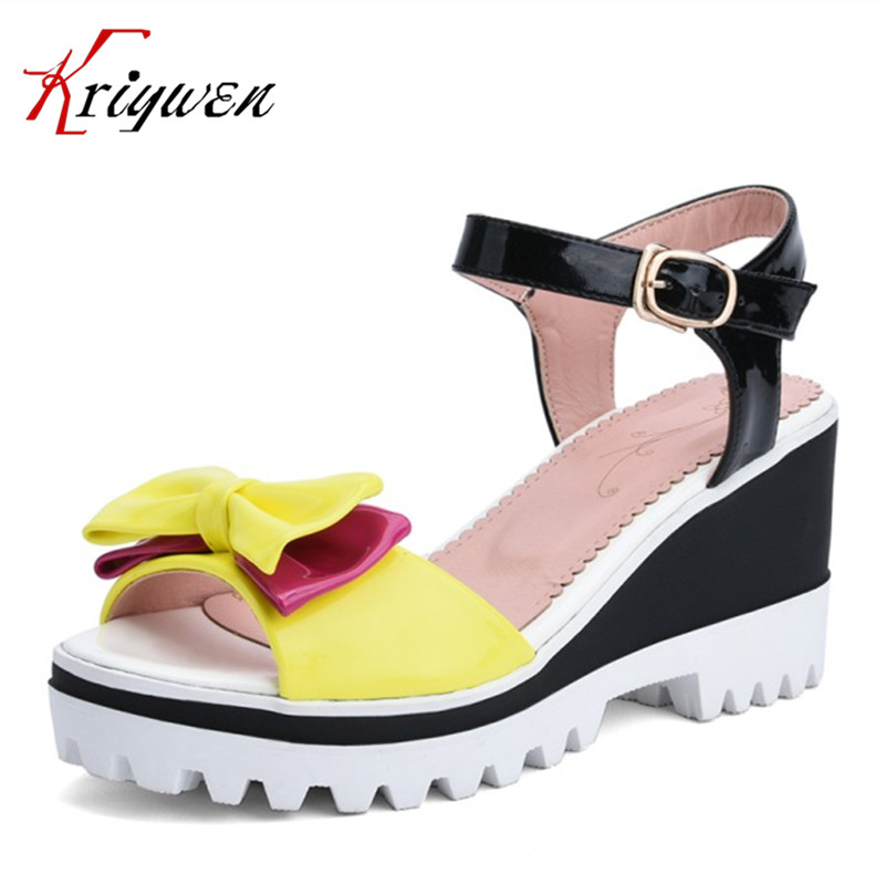 2017 Summer butterfly-knot platform sandals high heels shoes ladies mixed-color woman fashion wedding party shoes big size 33-39<br>