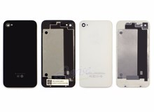 5/10PCS With Logo Black or White New Rear Battery Housing Back Glass Cover Door Case for iPhone 4 4G 4s free replacament