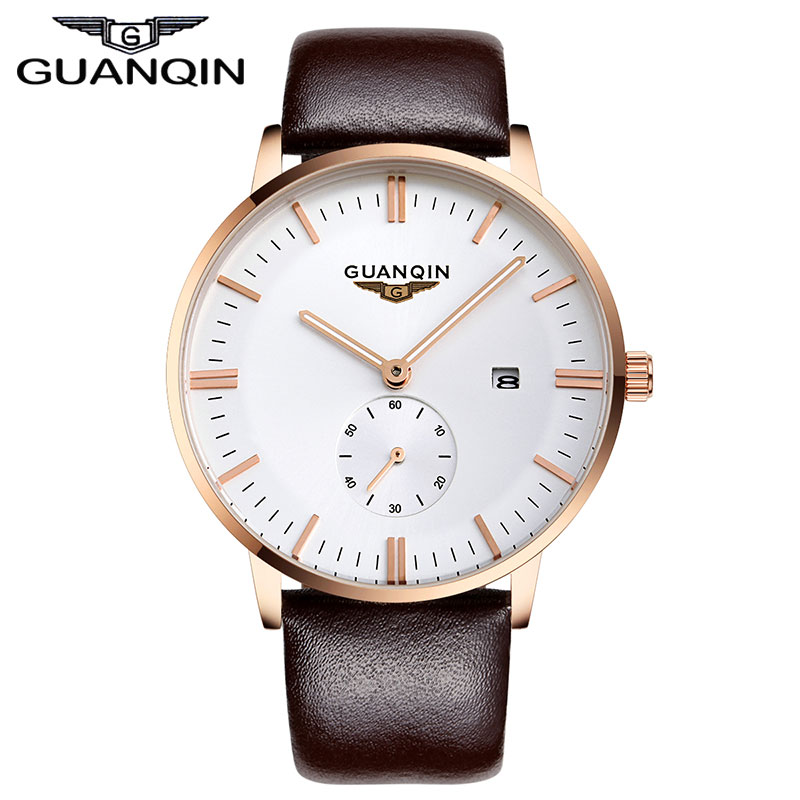 GUANQIN Mens Watches Luxury Brand New Fashion Men Quartz Watch Male Wristwatch Luminous Small Second Dial Watches<br><br>Aliexpress