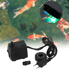 220~240V 15W 800L/H Submersible Fountain Air Fish Tank Aquarium Water Pump with 12 LED Lights EU UK SAA plug(China)