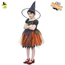 High Quality Girls Deluxe Witch Costumes With Hat Enchantress Outfit Kids Sorceress Decoration Sets for Party Kids Girls(China)