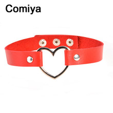 Heart accessories zinc alloy pendants fashion leather chokers torques charm lady mxi necklaces collier feminino kolye necklace