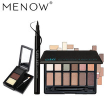 MENOW Brand Make up set Nude EyeShadow Palette& Soft head Eyeliner & Waterproof Eyebrow Powder Cosmetic Kit Drop ship 5341(China)