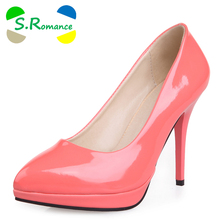 S.Romance Women Pumps Plus Size 34-43 New Fashion Sexy Slip-On Elegant Pointed Toe High Heels Woman Shoes Black Red SH322(China)