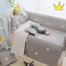 3pcs/set crib bedding set 100% cotton baby bedding set black tree gary clouds yellow crown pattern for newborn boys and girls(China)