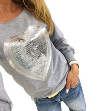 Autumn Sequined Heart Pullovers O-neck Long Sleeve Sweatshirts Lady Tracksuits Tops 3 Colors