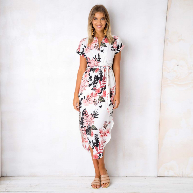 2018 Summer Dress Women Print V Neck Short Sleeve Robe Female Dresses Casual Sashes Midi Dress Ladies Elegant Vestidos Dropship 11