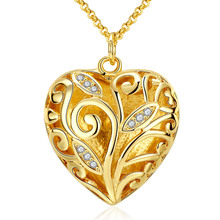 Best Gift silver plated necklace men Heart Solid ball gold color Pendant collares women 2017 diy fashion jewerly(China)