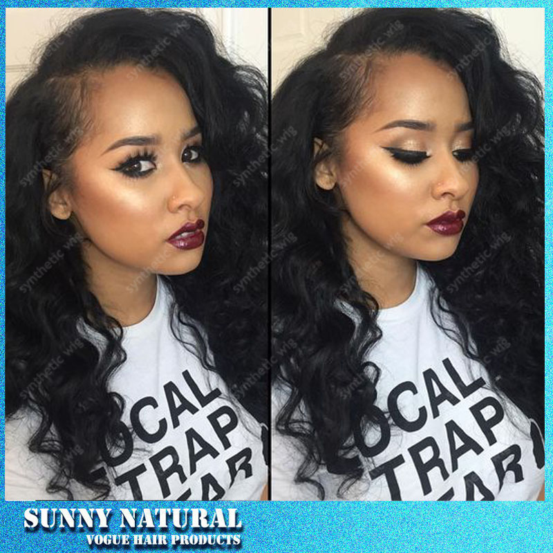 Hot Sales Synthetic Lace Front  Wigs Black Body Wave Wig Glueless With Baby Hair Synthetic Lace Front Wigs For Women<br><br>Aliexpress