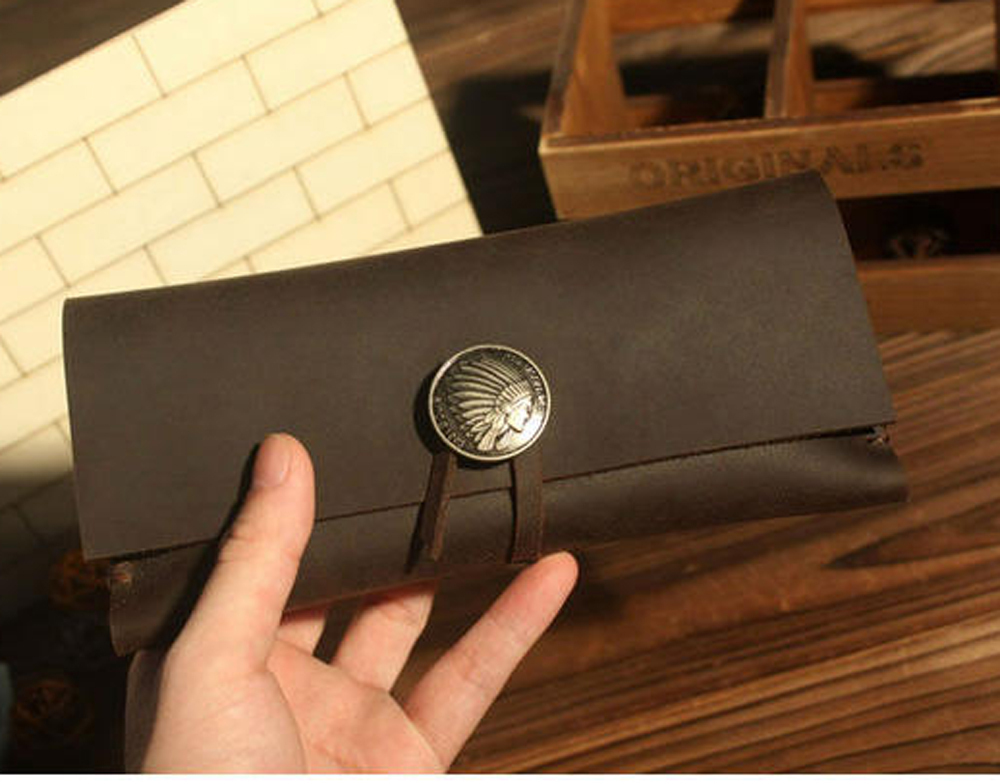 Origin Design handmade travel cowhide genuine leather brown for phone holder mobile pencil bag D0603<br>