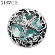 10Pcs/lot DIY 18mm Starfish Snap Buttons Interchangeable Jewelry Accessory Hollow Box Blue Rhinestone Snap Jewelry For Bracelet(China)