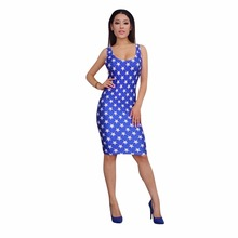 American Flag Print Women Bandage Dress 2017 Independence Day O-Neck Off The Shoulder Skinny Party Sexy Ladies Bodycon Dresses