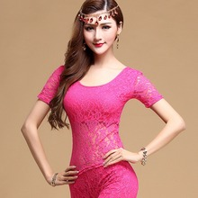 2017 Sexy Lady Belly Dance Shirt 4Colors(Black/Red/Rose/Blue) Short Sleeve Wear For Cha cha Dancing Woman Practice Clothes 30115(China)