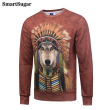 SMARTSUGAR Tie Dye Funny Dog Cosplay American Indian 3D Animal Hoodies Sweatshirts Cool Men Red Hoody Unisex Sweat Tide Clothes(China)