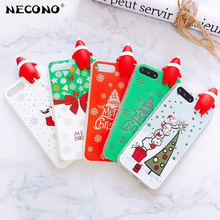 NECONO New 3D Christmas Santa Claus Case For iPhone X 6 6s 7 8 Plus Tree Socks Soft TPU In The Dark Luminous Phone Back Cover