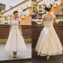Vintage Tea Length Lace Wedding Dresses Plus Size 2017 A Line Cap Sleeves Arabic Country Rustic Wedding Gowns Bridal Dress(China)