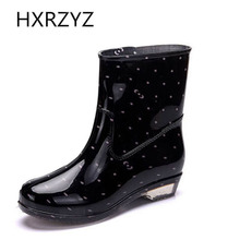 Spring rubber boots women PVC black spots fashion Rain boots Black red and green rain shoes water shoes Lady and ankle boots