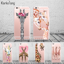 Cute Animals Three Flower Giraffe Case Cover For iphone X 6 6S 7 8 Plus Transparent with design Soft Silicone Fundas Coque(China)