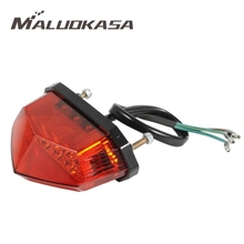 MALUOKASA 12V 3 Wiring Universal 10LEDs Red Motorcycle Dirt Bike Plate Lamp Rear Tail Brake Light Cafe Racer Biking Light