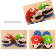 Super Mario Kids Adult Slippers Toys Home Shoes Cotton Plush Winter Home Woman Man Luigi Slipper Indoor Cute Slippers(China)