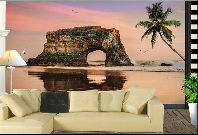 Custom 3D photo wallpaper, sunset beach, coconut trees landscape for the living room bedroom TV background wall papel de parede<br><br>Aliexpress