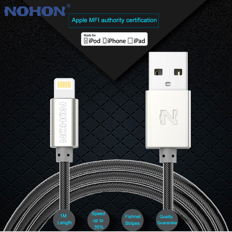 NOHON MFI For Lightning USB Cable 2.4A For Apple iPhone X 8 7 6 6S Plus iPad Fast Charging Mobile Phone USB Charger Data Cable(China)