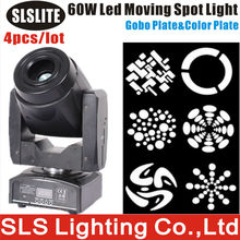 4pcs/lot 60w led moving head spot/gobo projector 60w led spot moving head Professional DJ Night Club Lighting Colorful Rotation